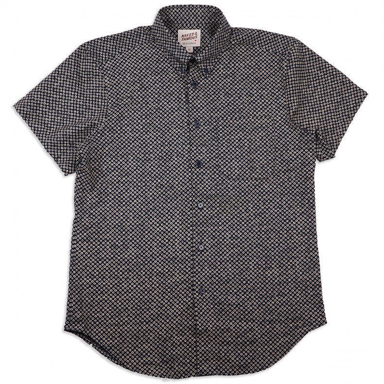 Рубашка Naked and Famous Short Sleeve Easy Shirt Kimono Scales Indigo