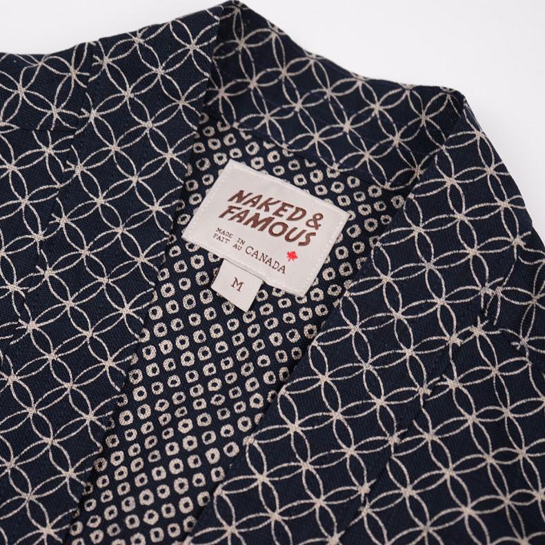 Рубашка Naked and Famous Kimono Shirt Kimono Circles Indigo