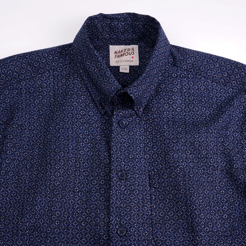 Рубашка Naked and Famous S/s Easy Shirt Japan Poplin Heritage Indigo