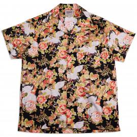 Рубашка Naked and Famous Aloha Shirt Japan Cranes Festival Black