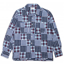 Рубашка Universal Works Garage Shirt Brushed Patchwork Blue