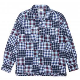 Рубашка Universal Works Garage Shirt Brushed Patchwork Blue