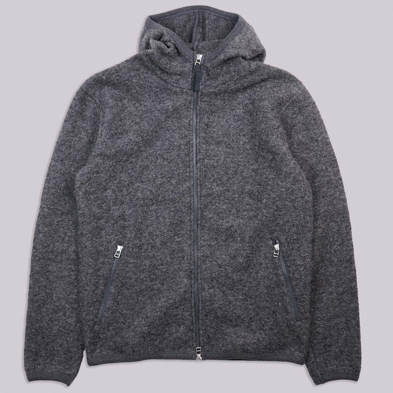 Толстовка Universal Works Surfer Hoodie Wool Fleece Charcoal