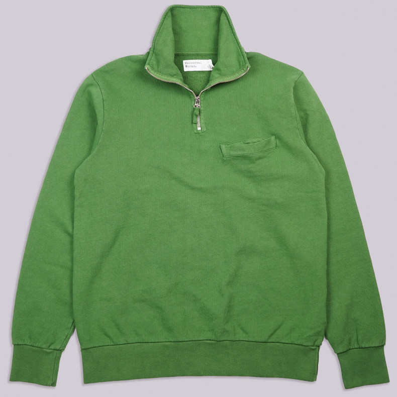 Толстовка Universal Works Half Zip Sweatshirt Dry Handle Loopback Green