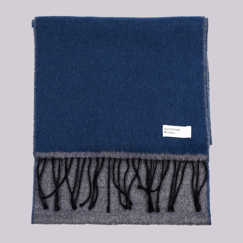 Шарф Universal Works Double Sided Scarf Navy/Grey