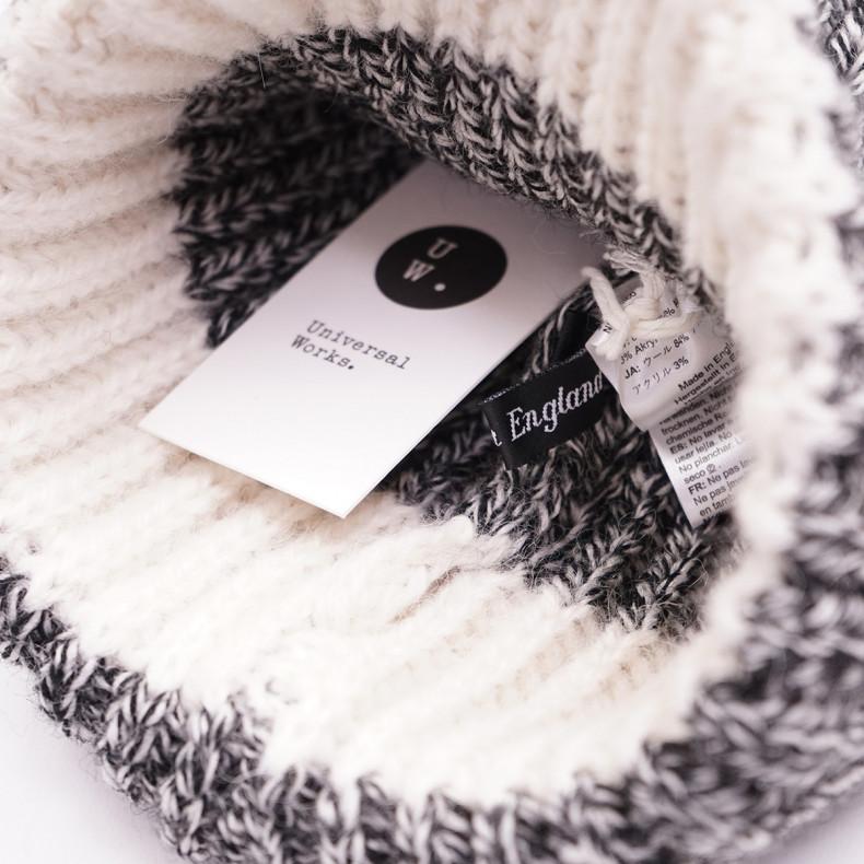 Шапка Universal Works Short Watch Сap 23352 Alpaca Wool Black/White