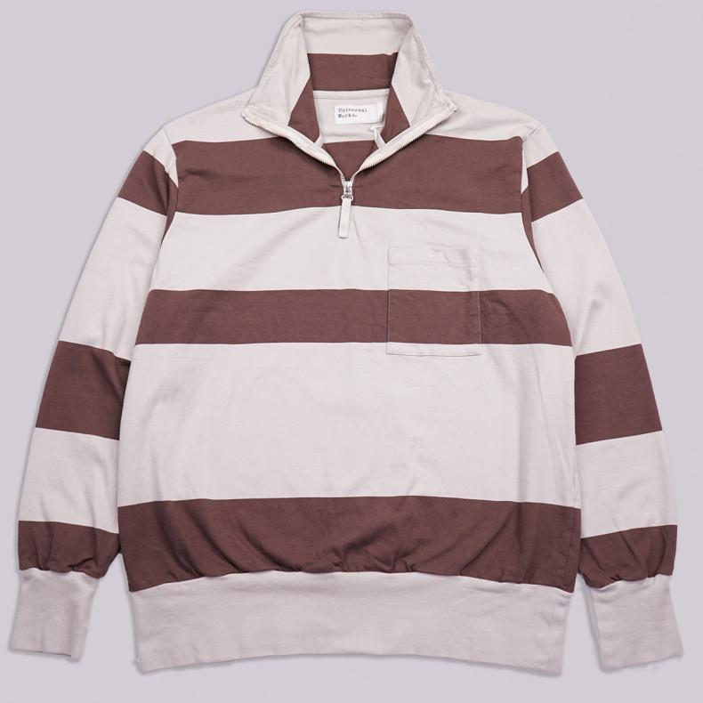 Толстовка Universal Works Half Zip 23618 Rugby StripeSweatshirt Ecru/Chocolate