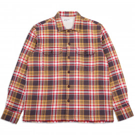 Рубашка Universal Works L/S Utility Shirt23171 Heavy Check Sand/Red