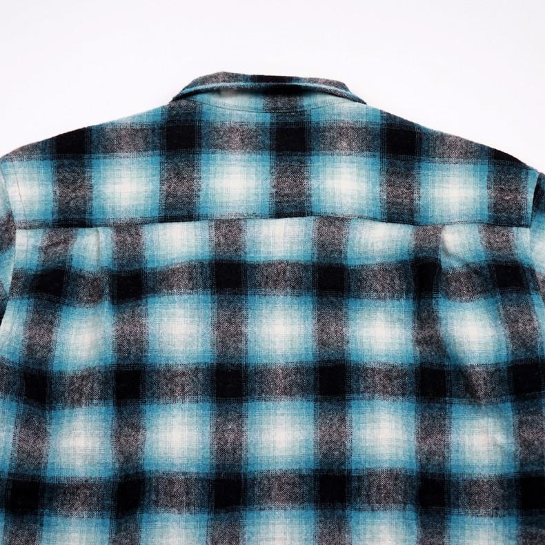 Рубашка Universal Works L/S Utility Shirt 23653 Check Texas Wool PlaidTurq/Blue/Black