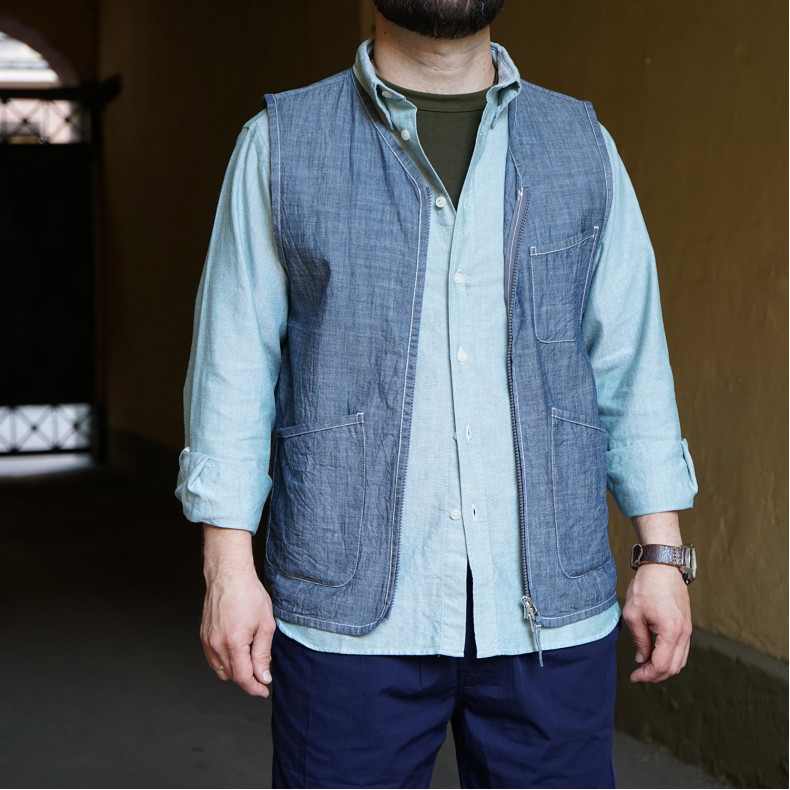 Жилет Universal Works Chambray Zip Waistcoat Indigo
