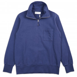 Толстовка Universal Works Half Zip Sweatshirt Dry Handle Loopback Navy Blue