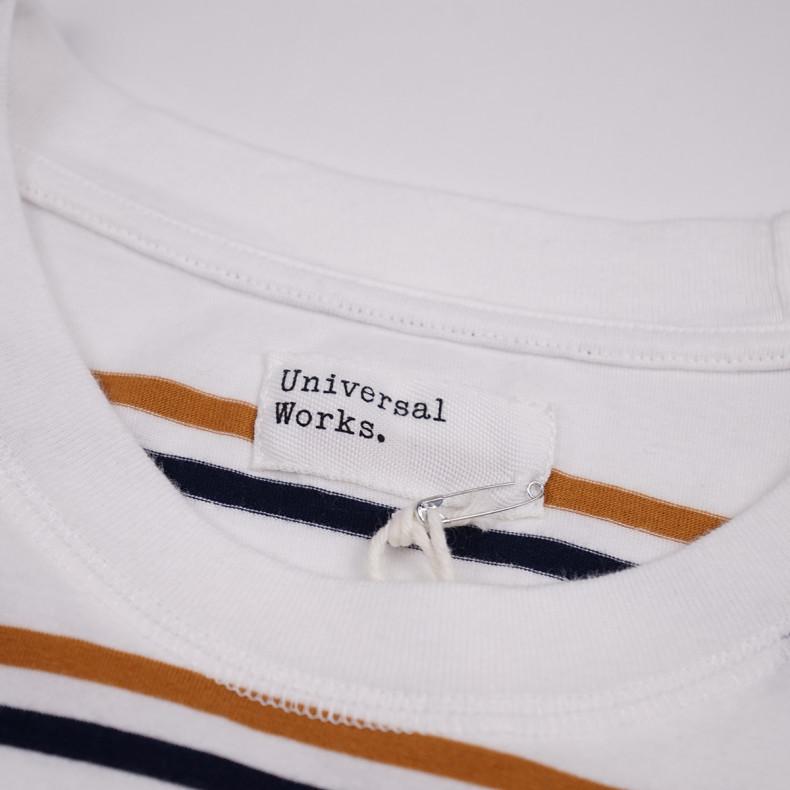 Футболка Universal Works Narrow Stripe Jersey Loose Tee Ecru
