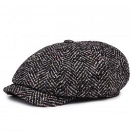 Классическая кепка Zefear Восьмиклинка ZF33804 Ferrara 2 - Черно-серый Твид Елочка