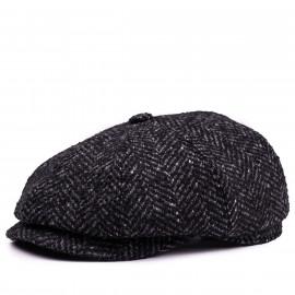 Классическая кепка Zefear Восьмиклинка ZF33802 Ferrara 2ts — Черный Твид Елочка