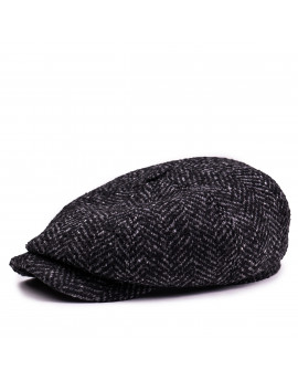 Классическая кепка Zefear Восьмиклинка ZF33804 Хулиганка Ferrara 2ts — Черный Твид Елочка