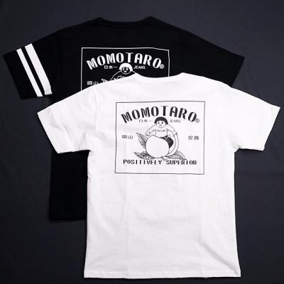 New in store: Новые футболки от Momotaro Jeans с большим однотонным принтом на спине. Рисунок был создан по мотивам фирменного поясного от джинсов Момотаро. Также, данная модель дополнена двумя белыми полосками