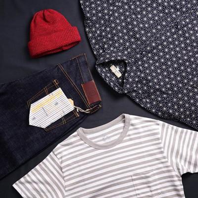 Thursday outfit: - Джинсы Japan Blue Jeans классического прямого кроя из тяжелого слабби-селведж денима весом в 16.5 унций. - Рубашка Japan Blue Jeans  Sashiko Shirt с традиционным японским узором, окрашена красителем на основе индиго и имеет текстурный трехмерный узор плетения. - Футболка с карманом Momotaro Jeans выполнена из плотного хлопкового материала в светло-серую полоску - Шапка Universal Works