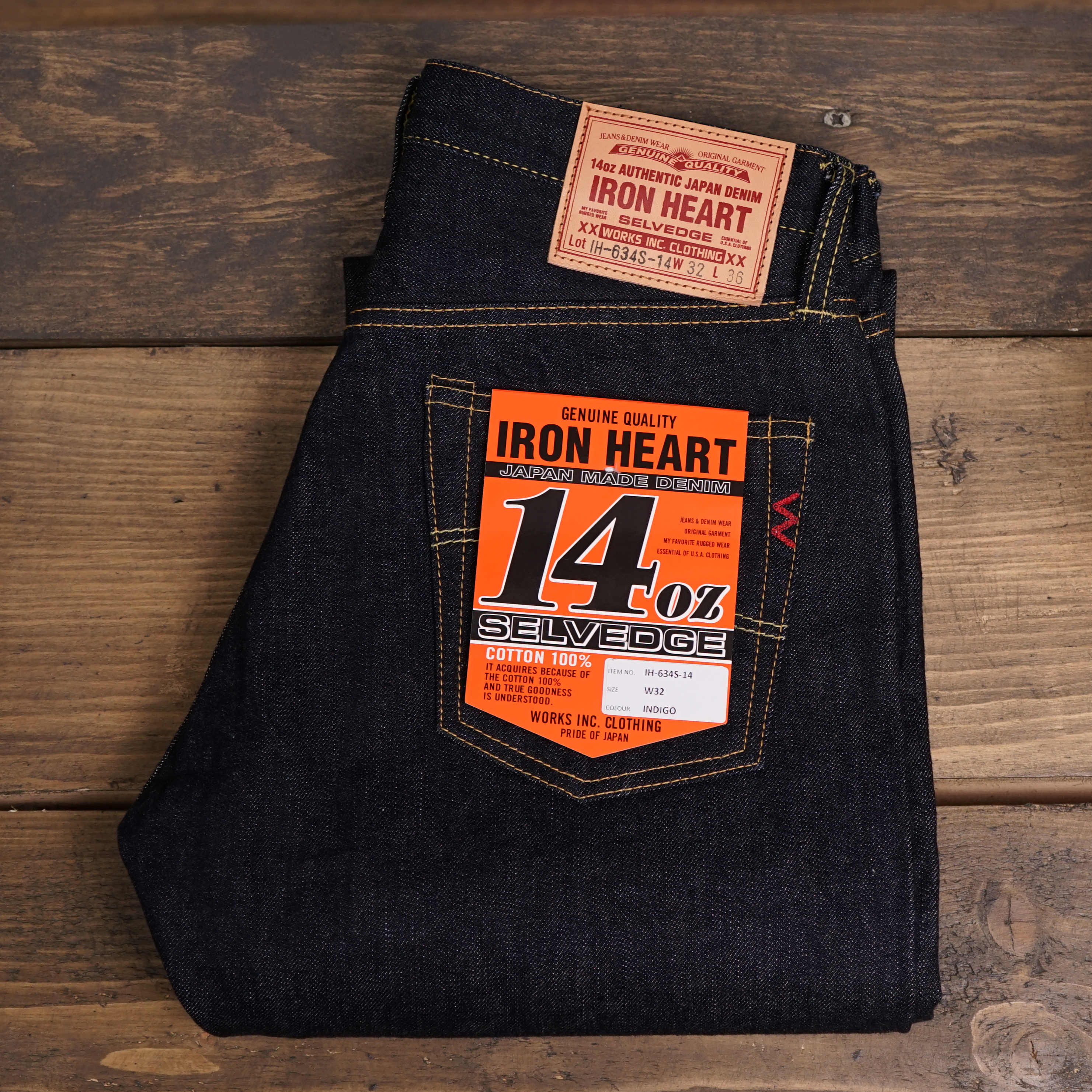 Iron heart IH-634S-14 oz Selvedge Denim Indigo